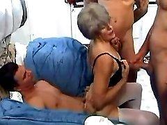 Lewd grandma n dudes make wild orgy