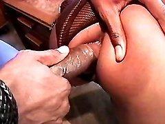 Horny black mature model filmed in porn clips