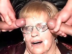 Grandma gets DP and cumload on face