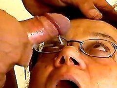 Horny granny gets facial
