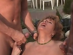 Chubby mature fucks in orgy outdoor n gets cumshot