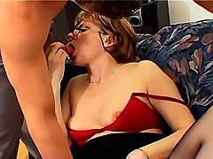 Mature sucks cock and gets dildo in pussy n mouth