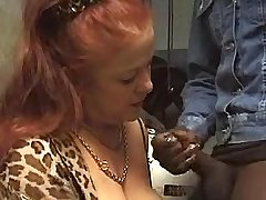 Old redhead slut enjoys big dick in mouth and cunt