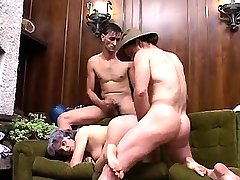 Depraved old granny has hard sex with hot two guys