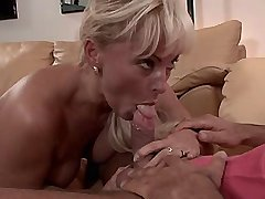 Blonde mature gets fingering n sucks dick and nuts