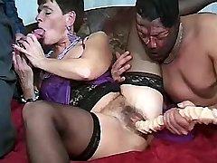 Elder mature sucks cock and gets dildo into cunt