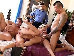 Blonde wife Mrs. S Barber talked her husband into letting her try dishing out her pussy to other men and in this clip, she attracts two guys to satisfy her with their eager wangs. She starts off by si