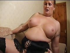 Curvy mature in lingerie fucking