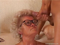 Mature granny takes an impressive facial