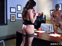 latina milf rides a black cock in the office