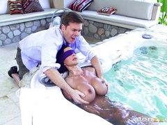 milf in a hot tub has her massive melons rubbed