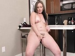 horny, busty and with a hairy pussy!